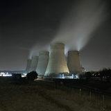 Coal Fired Power Station at Night Photographic Print by Robert Brook
