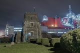 Church next to Factory at Night Photographic Print by Robert Brook