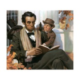 Abraham Lincoln Reading to Young Boy Giclee Print