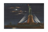 Statue of Liberty Lit up at Night Giclee Print