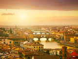 Sunset View of Bridge Ponte Vecchio. Florence, Italy Photographic Print by  silver-john