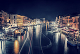 Venice City at Night, Beautiful Majestic Cityscape, Many Glowing Lights in the Buildings over Grand Photographic Print by Anna Omelchenko