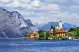 Beautiful Lago Di Garda, North of Italy. View with Castle in Malcesine Photographic Print by  Maugli-l