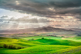 Tuscany, Rural Sunset Landscape. Countryside Farm, White Road and Cypress Trees. Photographic Print by  stevanzz
