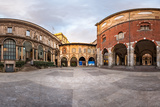Panorama of Palazzo Della Ragione and Piazza Dei Mercanti in the Morning, Milan, Italy Photographic Print by  anshar