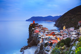 Vernazza Village, Aerial View on Sunset. Cinque Terre, Ligury, Italy Photographic Print by  stevanzz
