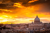 Basilica of St. Peter at Sunset with the Vatican in the Background in Rome, Italy Photographic Print by  whitewizzard