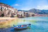 Beautiful Old Harbor with Wooden Fishing Boat in Cefalu, Sicily, Italy. Photographic Print by Aleksandar Todorovic