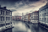 Beautiful Venice Cityscape, Vintage Style Photo of a Gorgeous Water Canal, Traditional Venetian Str Photographic Print by Anna Omelchenko