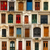 Collage of Old and Colorful Doors from Paris, France. Photographic Print by pink candy