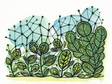 Illustration of Green Plants with Net Photographic Print by Marie Bertrand