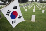 South Korean Flag Hanging at 2014 Memorial Day Event, Los Angeles National Cemetery, California, US Photographic Print by Joseph Sohm