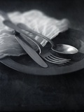 Old Pewter Flatware Photographic Print by Steve Lupton