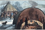 Interior of a Laplander Hut with a Family around the Fire Photographic Print by Stefano Bianchetti