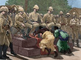 Act of Submission of Ashanti King Prempeh before the British Representative. Engraving, 1901. Color Photographic Print by  Tarker