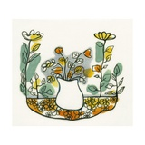 Illustration of Flowers in Vase on Flowerbed Giclee Print by Marie Bertrand