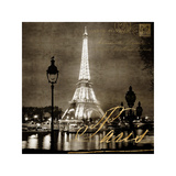 Paris At Night In Sepia Giclee Print by Kate Carrigan