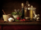 Selection of Spicey Ingredients and Herbs Used in Cooking Photographic Print by Steve Lupton