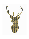 Gold Chalkboard Deer Head on White Prints by Tara Moss