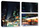 Night City 3, 3 Piece Gallery-Wrapped Canvas Flag Set Gallery Wrapped Canvas Set by Philip Straub