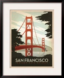 San Francisco: Golden Gate Bridge Framed Giclee Print by  Anderson Design Group