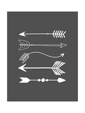 White Arrows on Gray Premium Giclee Print by Tara Moss