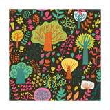 Magic Forest in Cartoon Style in Bright Summer Colors. Seamless Pattern Can Be Used for Wallpaper, Posters by  smilewithjul