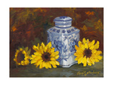 Sunflowers and Blue and White Vase Poster by Cheri Wollenberg
