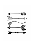 Black Arrows on White Premium Giclee Print by Tara Moss