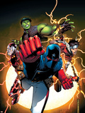 The Young Avengers No.1 Cover: Patriot, Hulkling, Wiccan, Iron Lad, Asgardian and Young Avengers Plastic Sign by Jim Cheung
