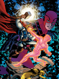 Avengers Academy No.11 Cover: Thor, Korvac, and Giant Man Fighting Plastic Sign by Mike McKone