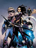 Young Avengers No.10 Cover: Bishop, Kate, Patriot, Wiccan, Stature, Vision and Hulkling Stretching Wall Decal by Jim Cheung