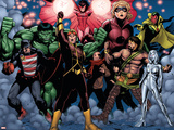 The Mighty Avengers No.21 Group: U.S. Agent, Hulk, Wasp, Hercules, Jocasta, Stature and Vision Plastic Sign by Khoi Pham