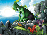 Avengers vs. Pet Avengers No.4: Fin Fang Foom Sitting on a Cliff Plastic Sign by Ig Guara