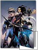Young Avengers No.10 Cover: Bishop, Kate, Patriot, Wiccan, Stature, Vision and Hulkling Stretching Posters by Jim Cheung