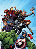Avengers Assemble No.1 Cover: Captain America, Hulk, Black Widow, Hawkeye, Thor, and Iron Man Plastic Sign by Mark Bagley