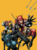 Secret Avengers No.22 Cover: Hawkeye, Beast, Valkyrie, Black Widow, Giant Man, and Captain Britain Plastic Sign by Arthur Adams