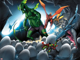 Avengers vs. Pet Avengers No.4: Fin Fang Foom and Throg Saving Eggs Plastic Sign by Ig Guara
