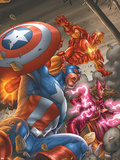 Avengers V3 No.78 Cover: Captain America, Iron Man, Scarlet Witch and Avengers Plastic Sign by Scott Kolins