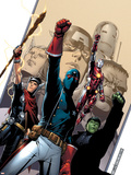 Young Avengers No.2 Cover: Patriot, Hulkling, Iron Lad, Wiccan, Young Avengers and Asgardian Plastic Sign by Jim Cheung