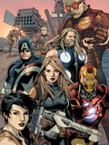 Ultimate Avengers vs. New Ultimates No.2: Carol Danvers, Iron Man, Captain America, Thor, Giant Man Plastic Sign by Leinil Francis Yu