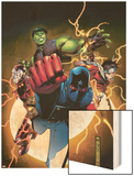 The Young Avengers No.1 Cover: Patriot, Hulkling, Wiccan, Iron Lad, Asgardian and Young Avengers Wood Print by Jim Cheung