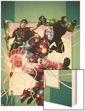 Young Avengers No.3 Cover: Iron Lad, Wiccan, Hulkling and Patriot Wood Print by Jim Cheung