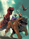 Lockjaw and the Pet Avengers No.2 Cover: Lockjaw, Lockheed and Devil Dinosaur Wall Decal by Karl Kerschl