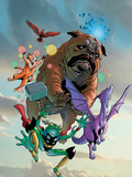 Lockjaw and The Pet Avengers No.1 Cover: Lockjaw, Lockheed, Throg, Redwing and Hairball Wall Decal by Karl Kerschl