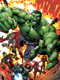 Avengers Assemble No.2 Cover: Hulk, Thor, Iron Man, Captain America, Hawkeye, and Black Widow Plastic Sign by Mark Bagley