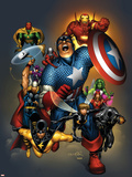 The Official Handbook Of The Marvel Universe: Avengers 2004 Cover: Captain America Plastic Sign by Salvador Larroca
