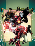 Young Avengers No.3 Cover: Iron Lad, Wiccan, Hulkling and Patriot Plastic Sign by Jim Cheung