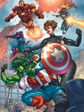 Avengers No.84 Group: Captain America, She-Hulk, Lionheart, Iron Man, Hawkeye and Avengers Plastic Sign by Scott Kolins