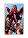 Avengers: The Childrens Crusade No.6: Panels with Scarlet Witch and Wiccan Flying and Hugging Plastic Sign by Jim Cheung